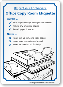 office copier etiquette